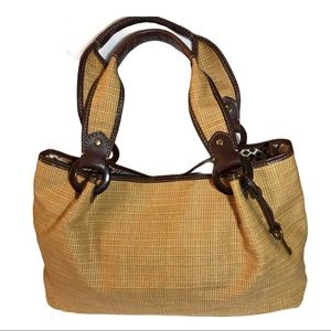 Fossil woven straw and leather shoulder bag